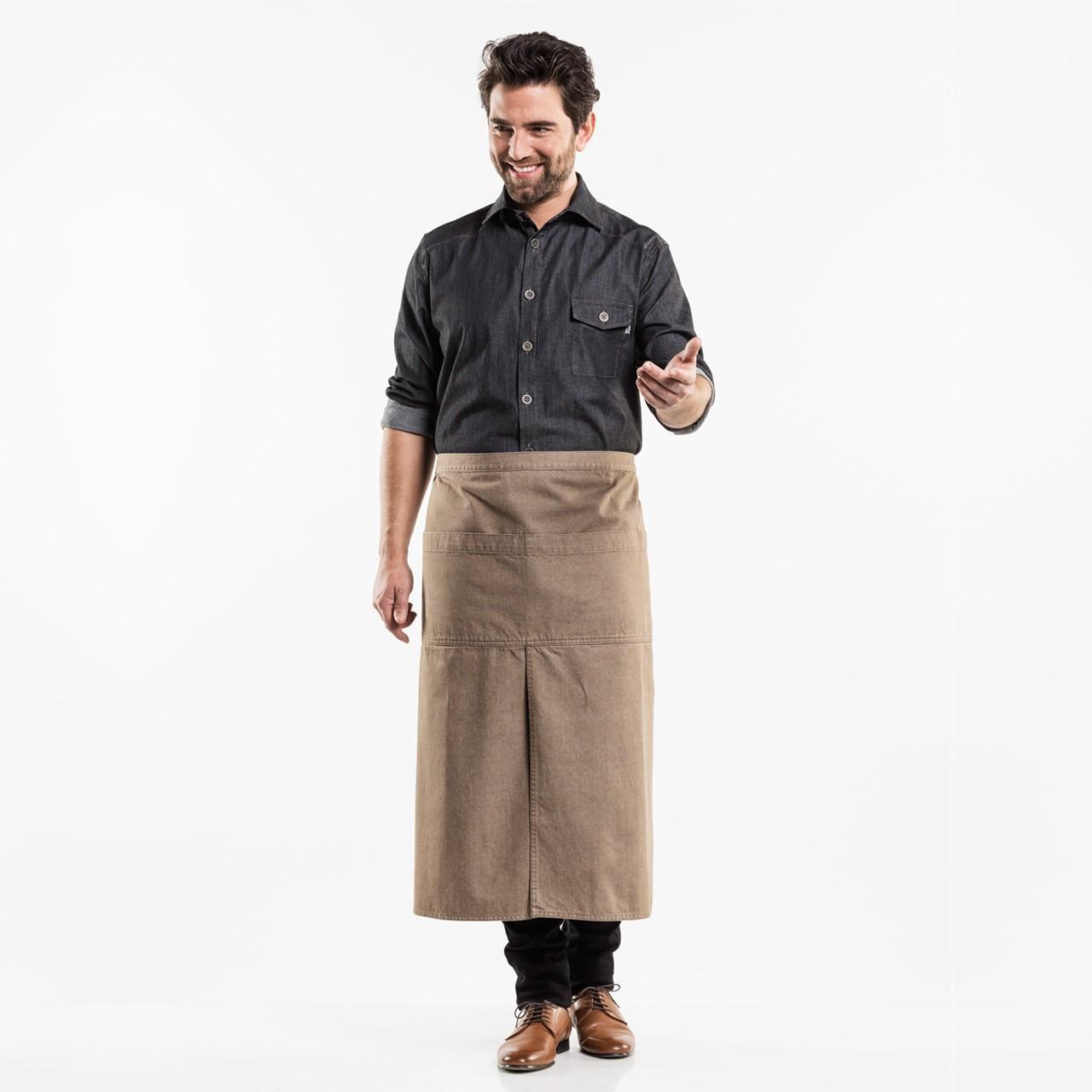 Jeans Bistroschürze mit Schlitz 4-Pockets Chaud Devant® | bedrucken, besticken, bedrucken lassen, besticken lassen, mit Logo |