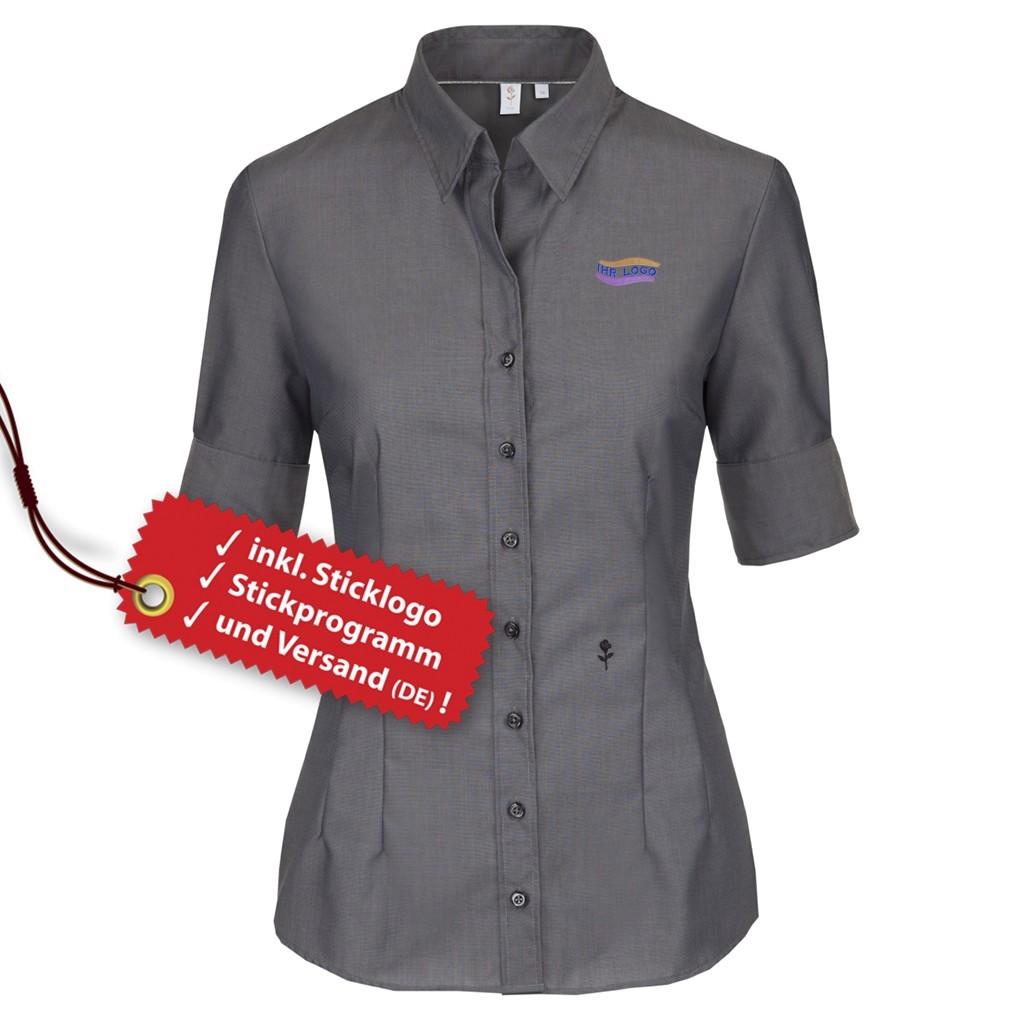 Seidensticker® Slim Fit kurzarm Bluse besticken lassen   bedrucken, besticken, bedrucken lassen, besticken lassen, mit Logo  