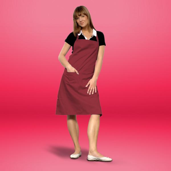 Bib apron bordeaux with pocket cotton ART®